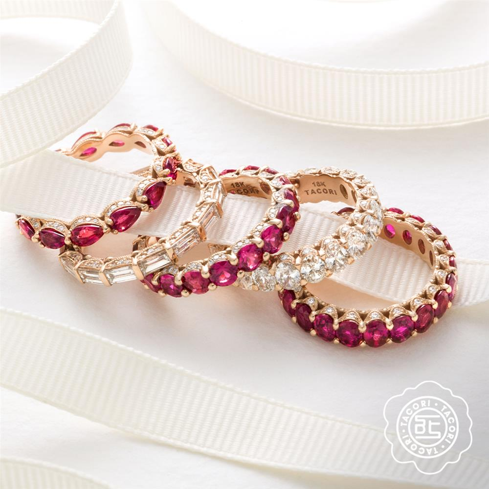 Ruby and Diamond Tacori Eternity Bands