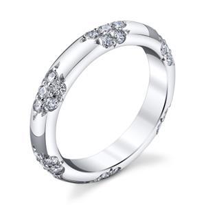 Michael B Diamond Pave Set Platinum Womens Wedding Bands
