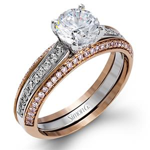 simon g diamond pave set 18k rose gold womens wedding bands - Womens Wedding Rings