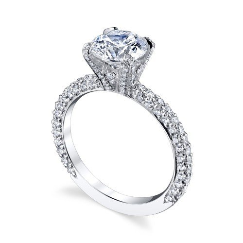 Michael B Side Stone Platinum Diamond Engagement Ring