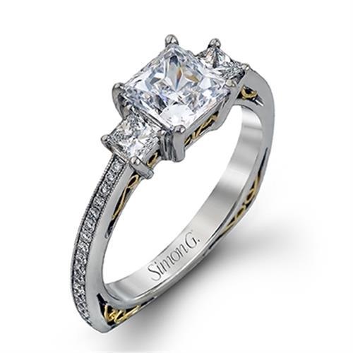 Simon G Three Stone 18k White Gold Diamond Engagement Ring