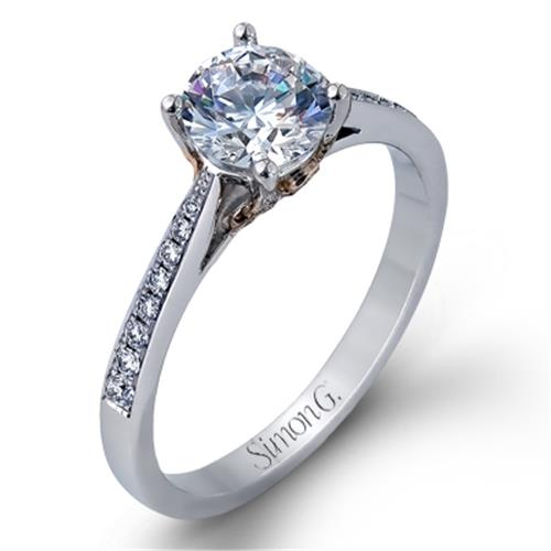 Simon G Side Stone 18K White Gold Diamond Engagement Ring