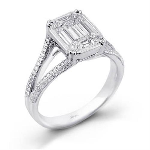 Simon G Preset Rings 18k White Gold Diamond Engagement Ring