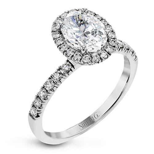 Simon G Halo 18k White Gold Diamond Engagement Ring Designer