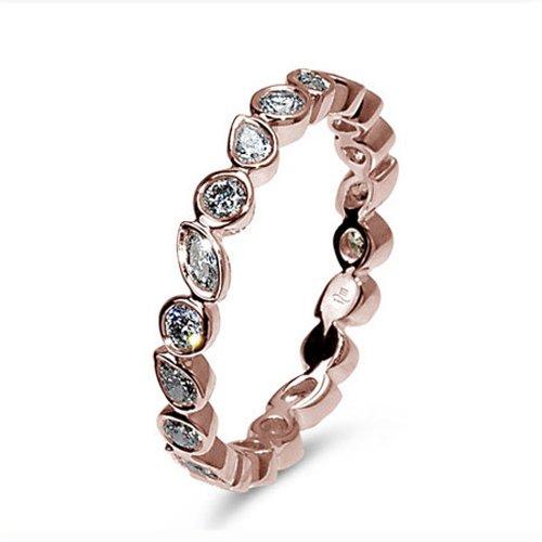 Mark Silverstein Diamond Channel Set 18K Rose Gold Womens Wedding