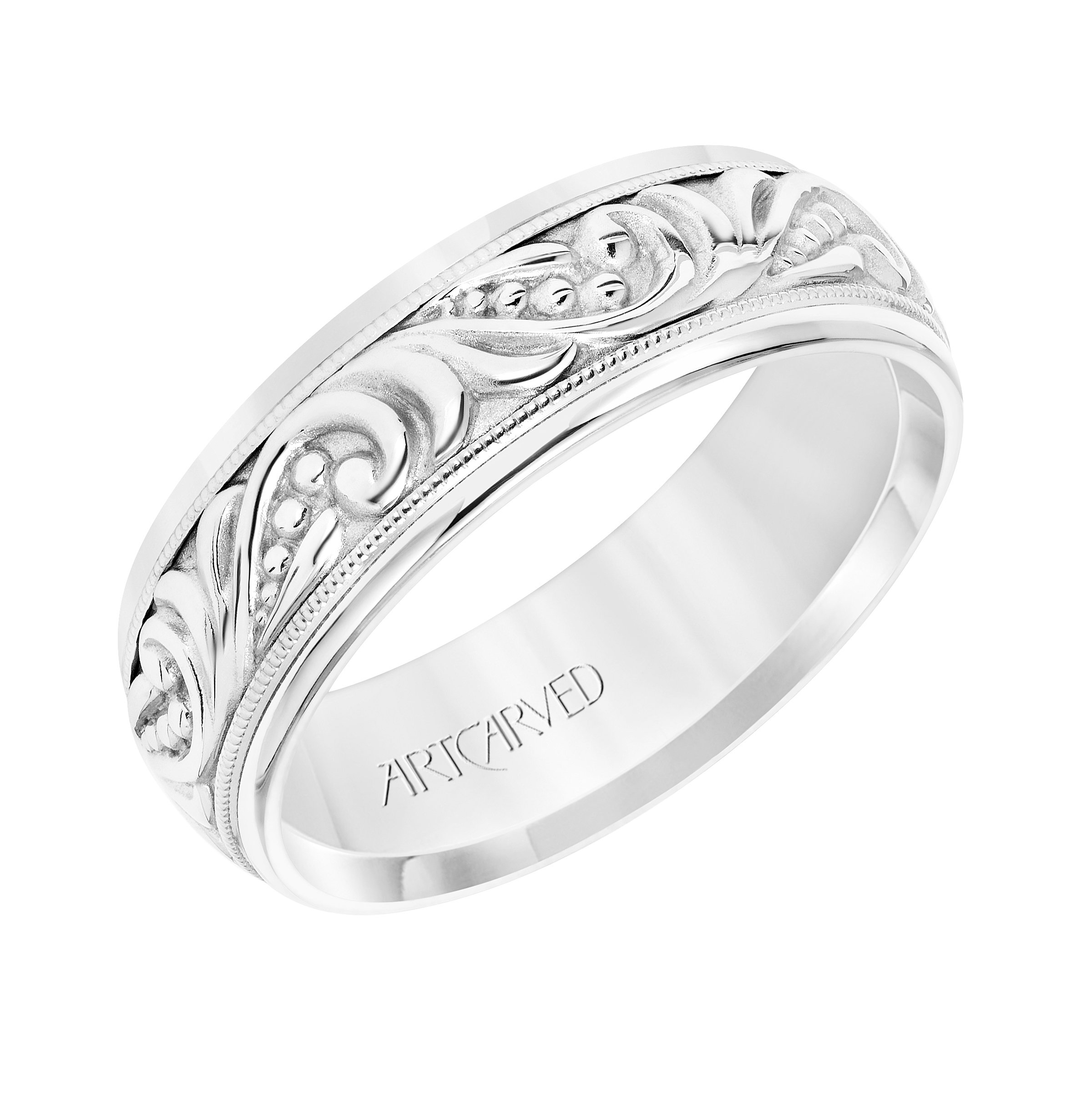 Artcarved Plain White Gold Mens Wedding Bands Designer Engagement