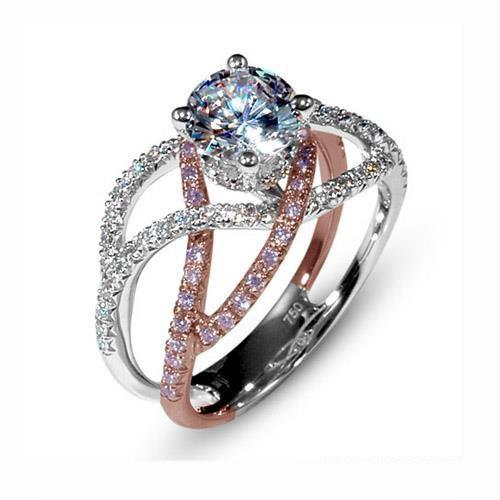 Mark Silverstein Split Shank 18K Rose Gold Diamond Engagement Ring