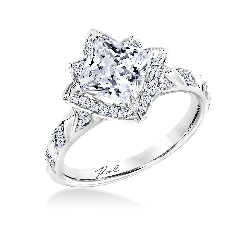 Karl Lagerfeld Halo 18K White Gold Diamond Engagement Ring