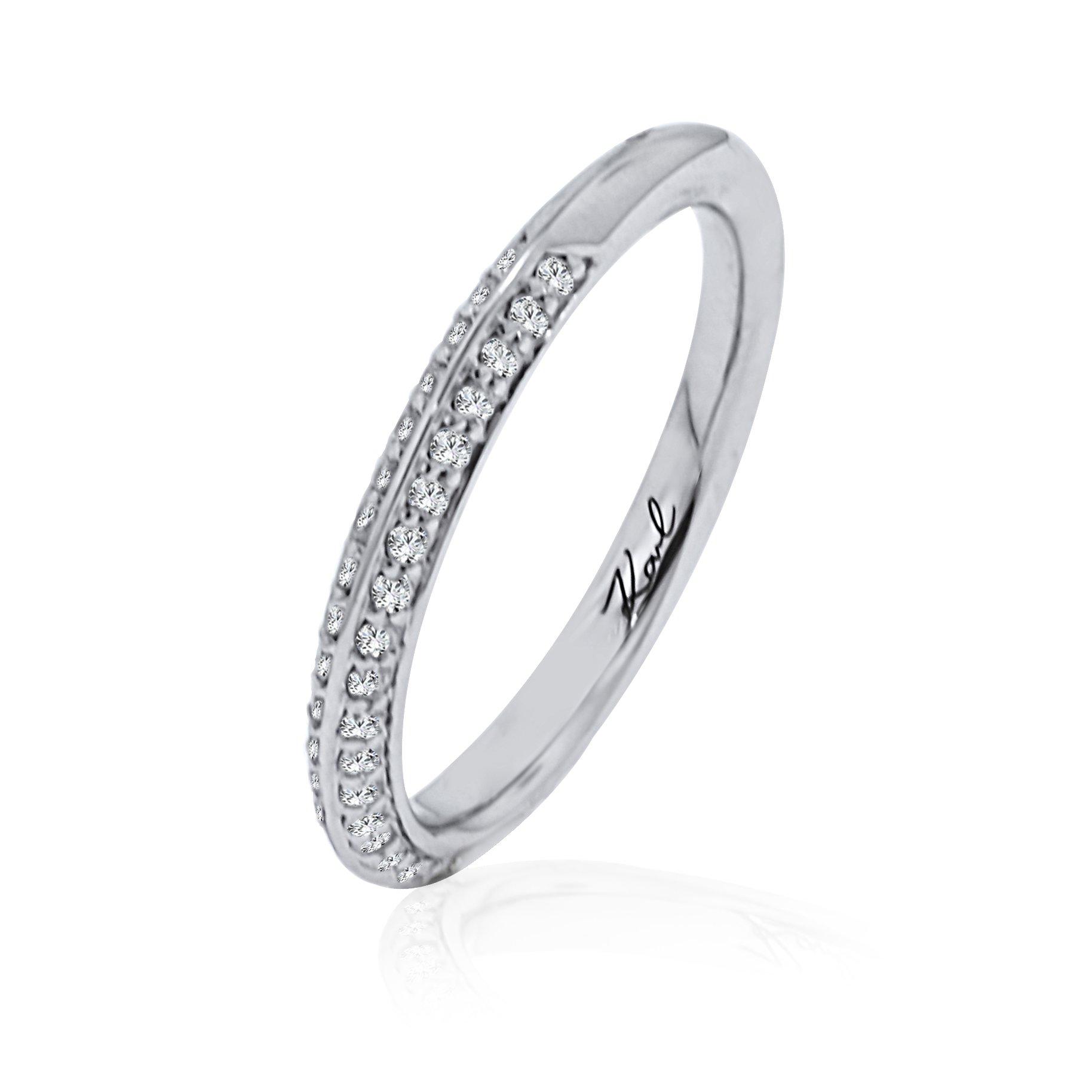 Karl Lagerfeld Diamond Pave Set 18K White Gold Womens Wedding