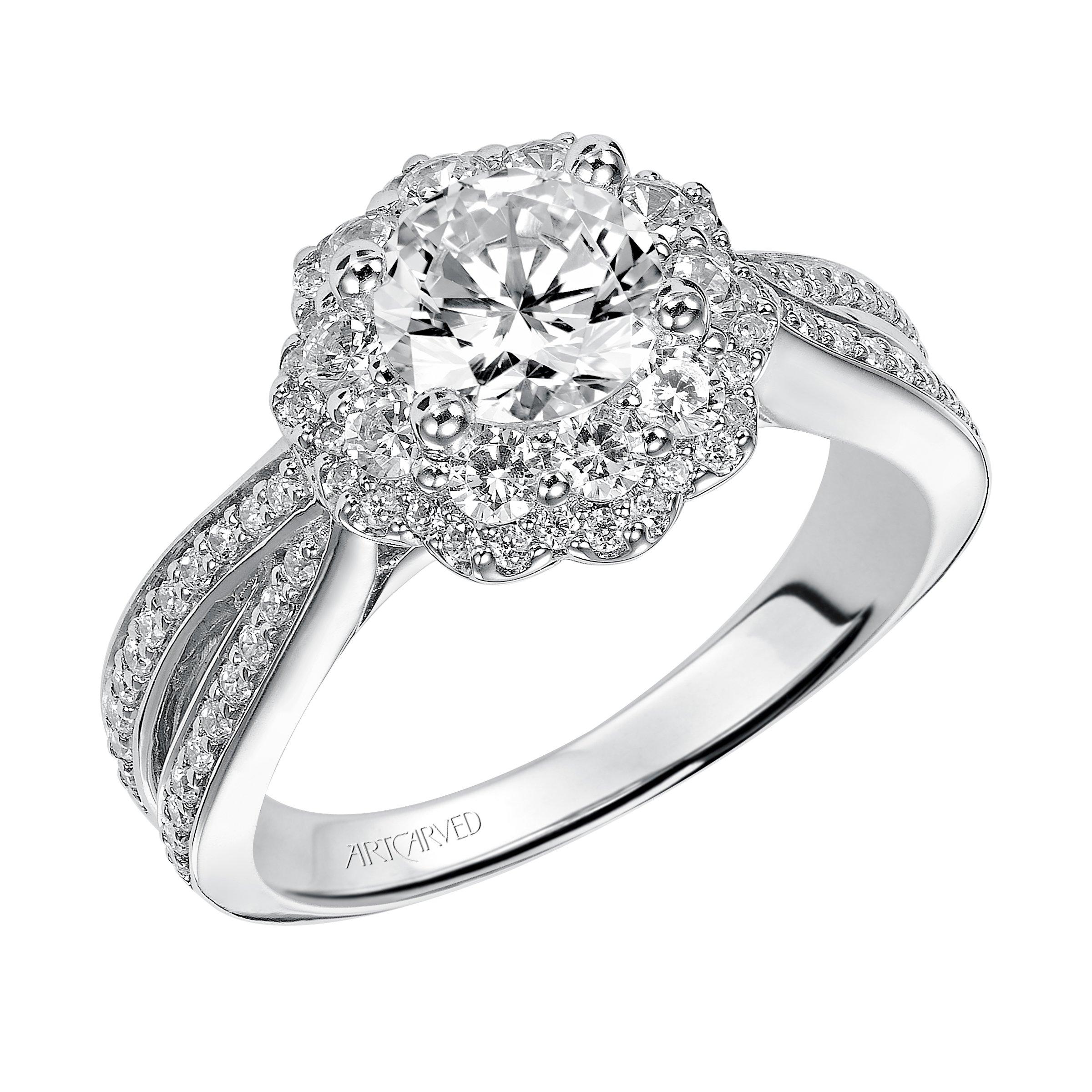95c537c17ea ArtCarved Halo White Gold Diamond Engagement Ring. Designer ...