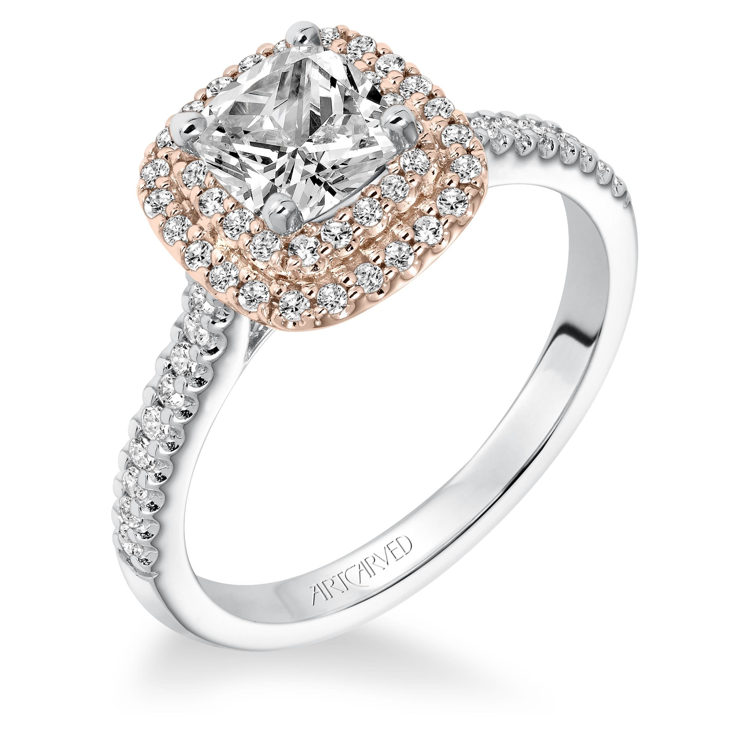 5b015eaa734 ArtCarved Double Halo Rose Gold Diamond Engagement Ring. Designer ...