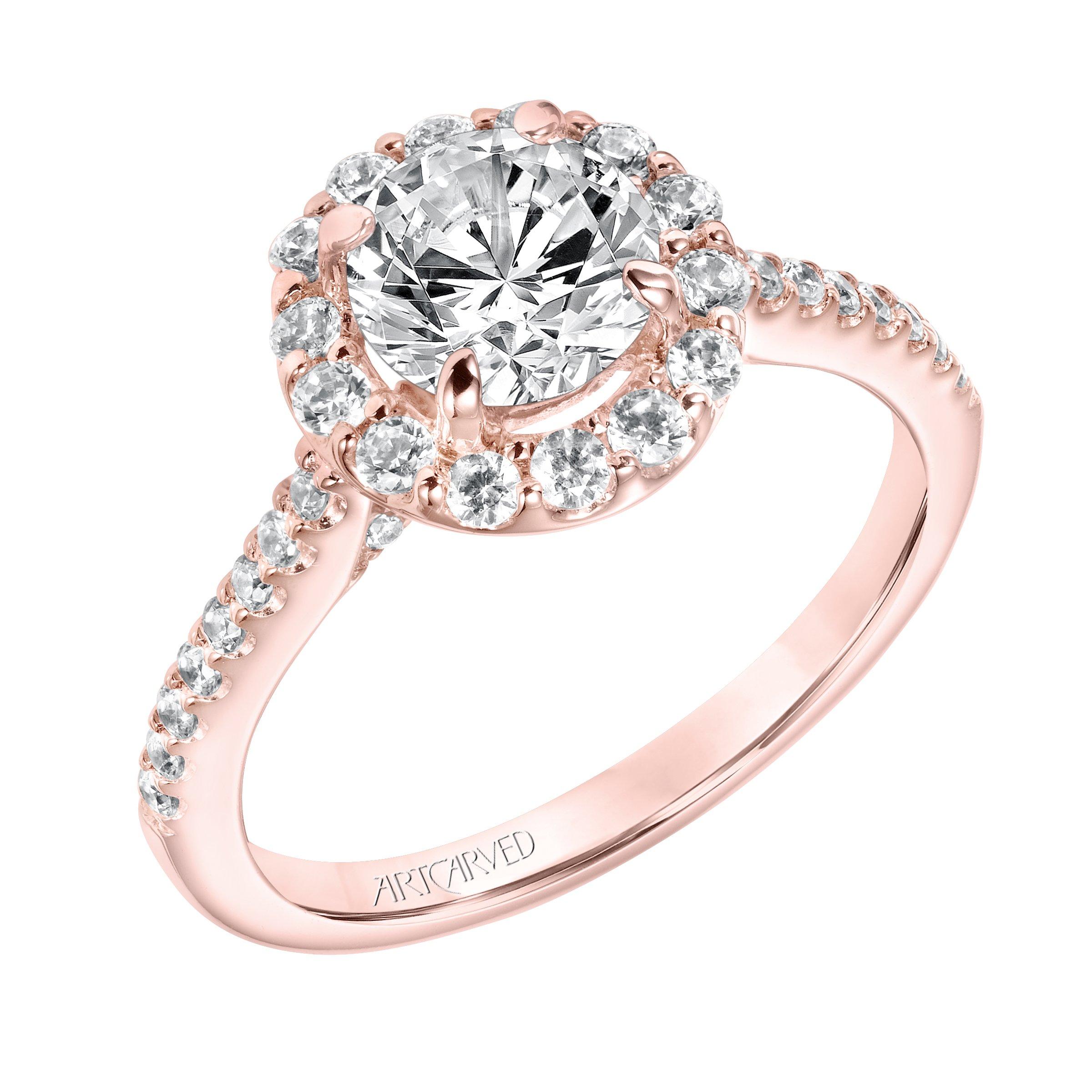 49d093e5f5d ArtCarved Halo Rose Gold Diamond Engagement Ring. Designer ...