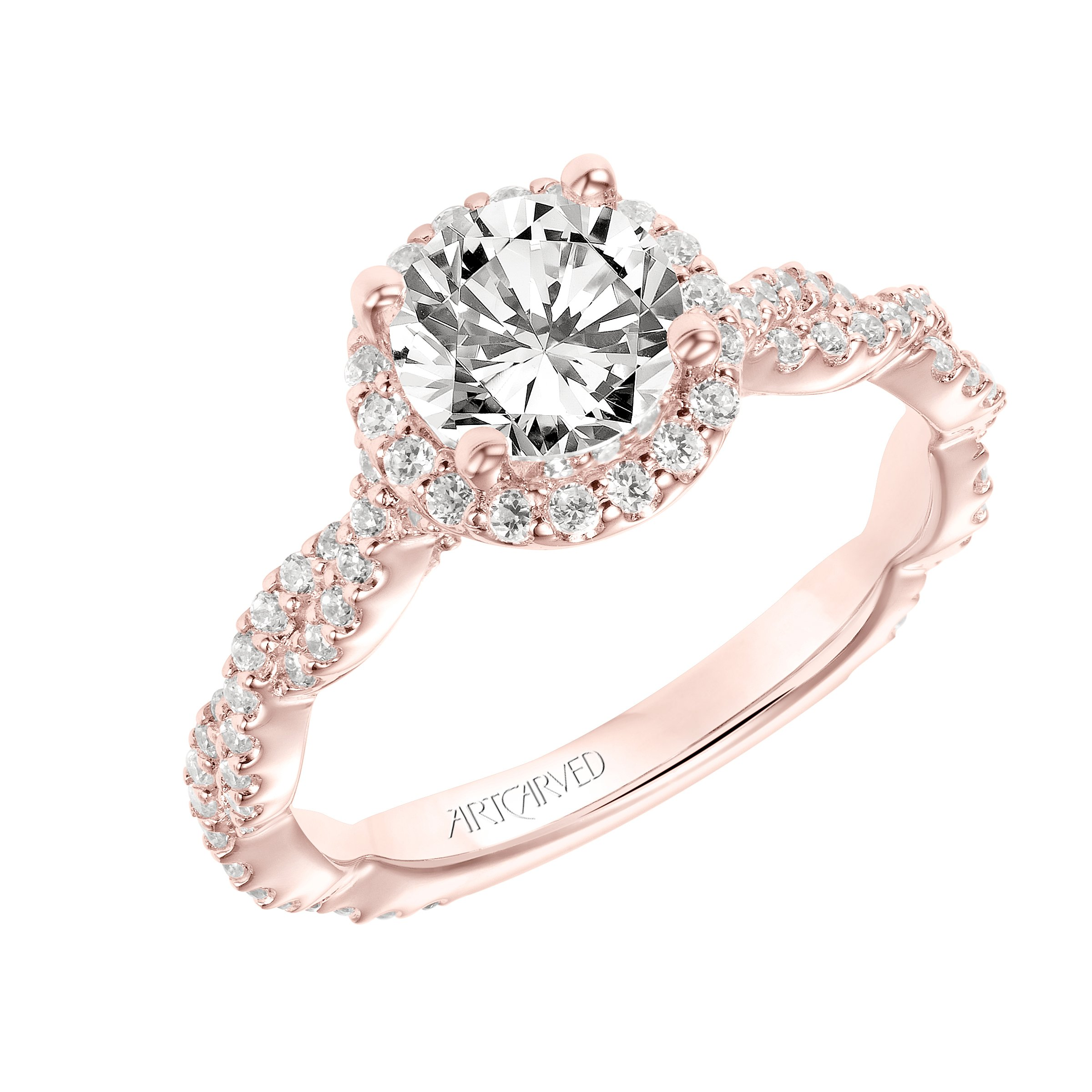 Artcarved Halo Rose Gold Diamond Engagement Ring Designer Engagement Rings Fine Jewelry Arthur S Jewelers