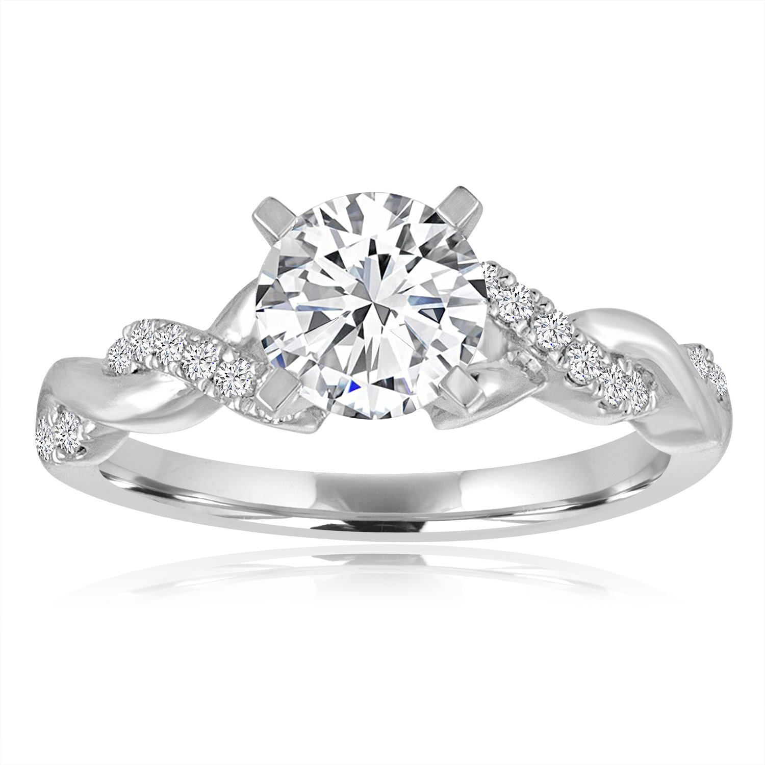 a3608387326 Arthurs Collection Twist White Gold Diamond Engagement Ring ...