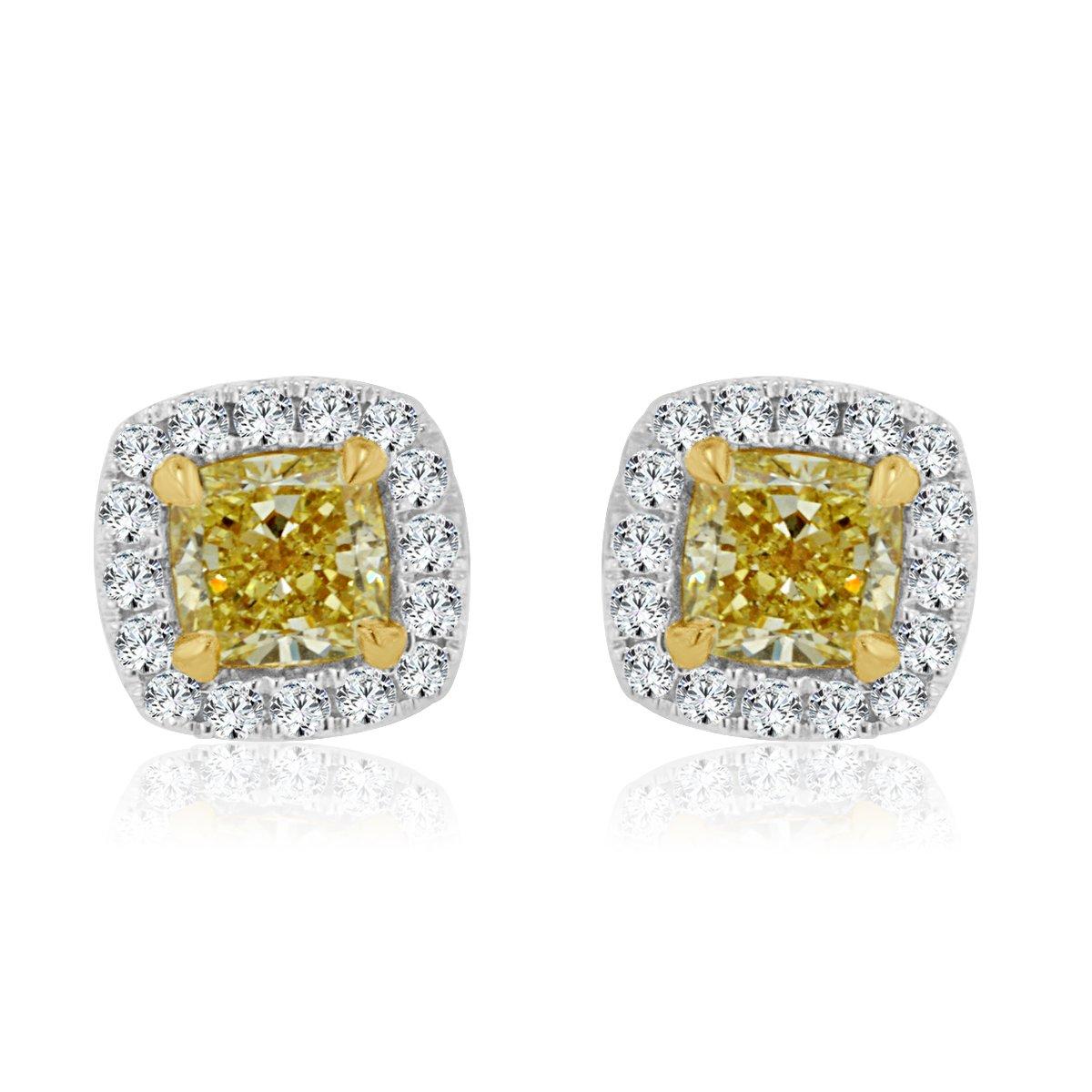 Diamond Earrings In Two Tone Gold