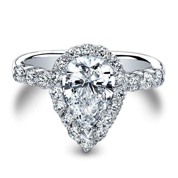 1703009c2 Christopher Designs Halo 18K - White Gold Diamond Engagement Ring ...