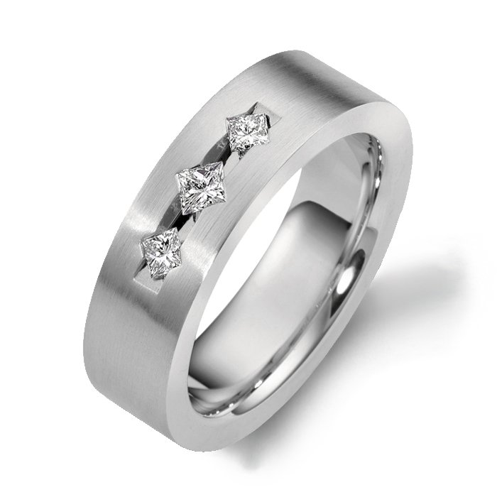 Dora Diamond White Gold Mens Wedding bands Designer Engagement