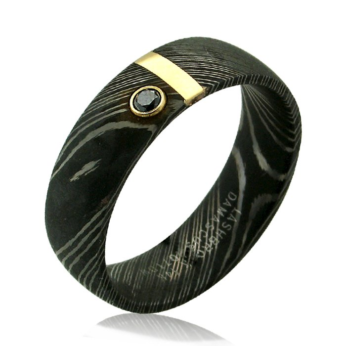 Black Wedding Bands.Damascus Steel 7mm Dome Band With 1mm 14ky Black Diamond Wedding Band