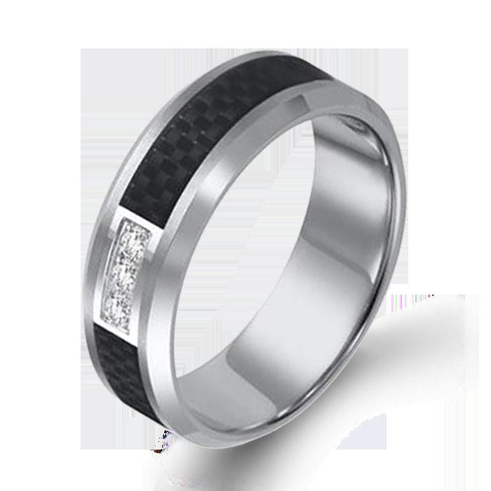 Arthurs Collection Diamond Tungsten Carbide Mens Wedding Bands