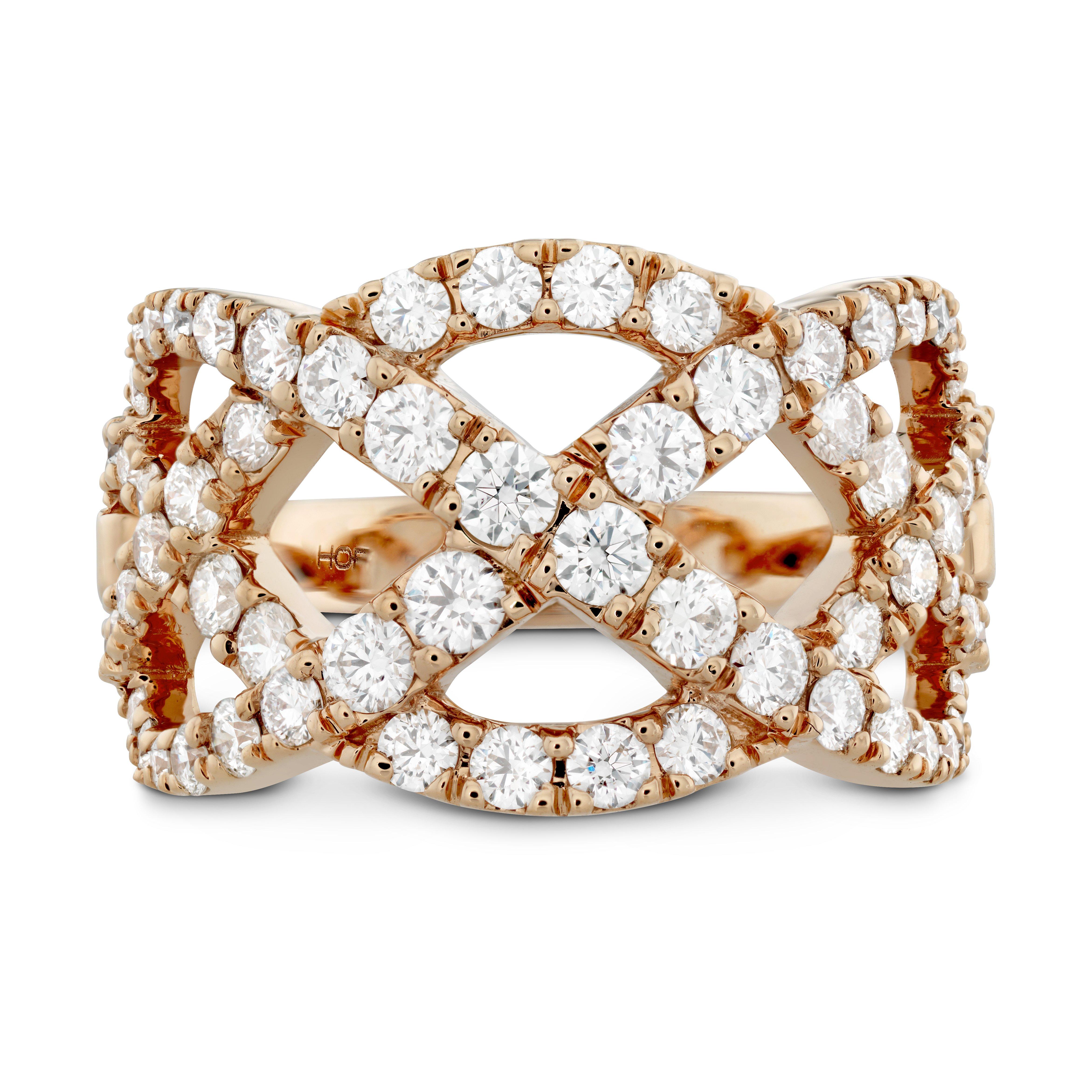 hearts on fire 18k rose gold diamond rings intertwining diamond