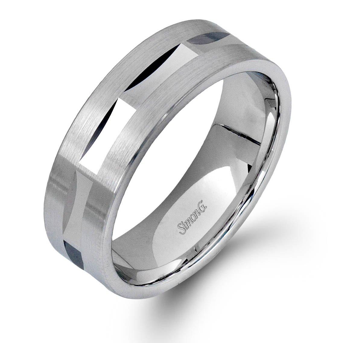 Simon G Plain White Gold Mens Wedding Bands Designer Engagement Rings Fine Jewelry Arthur S Jewelers