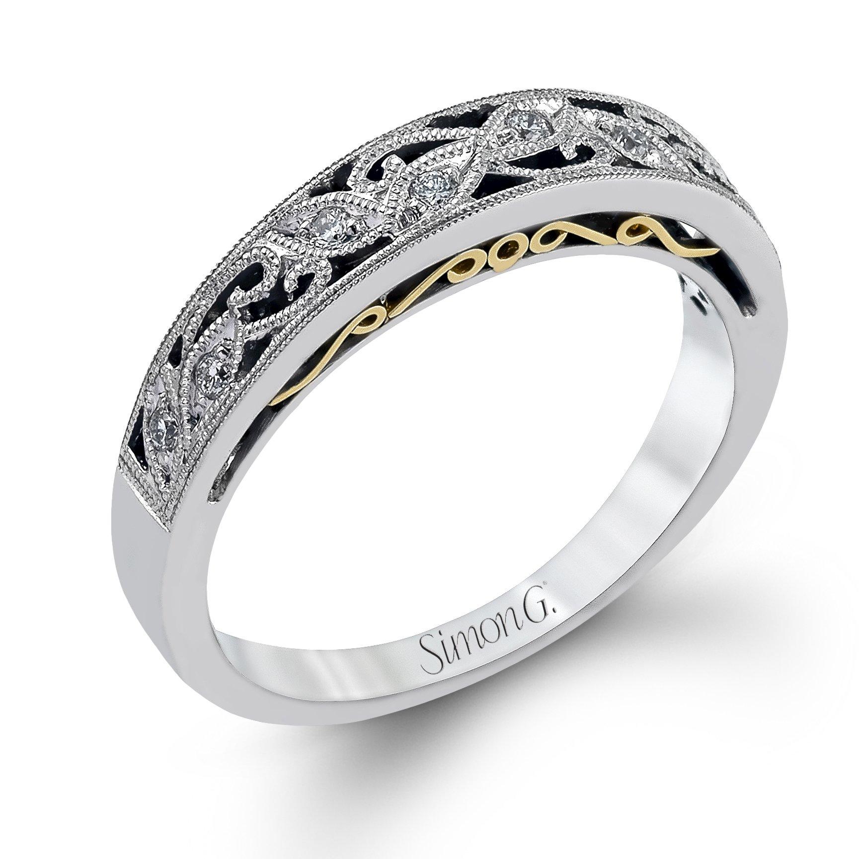 It is a graphic of Simon G LP50B diamond womens wedding band