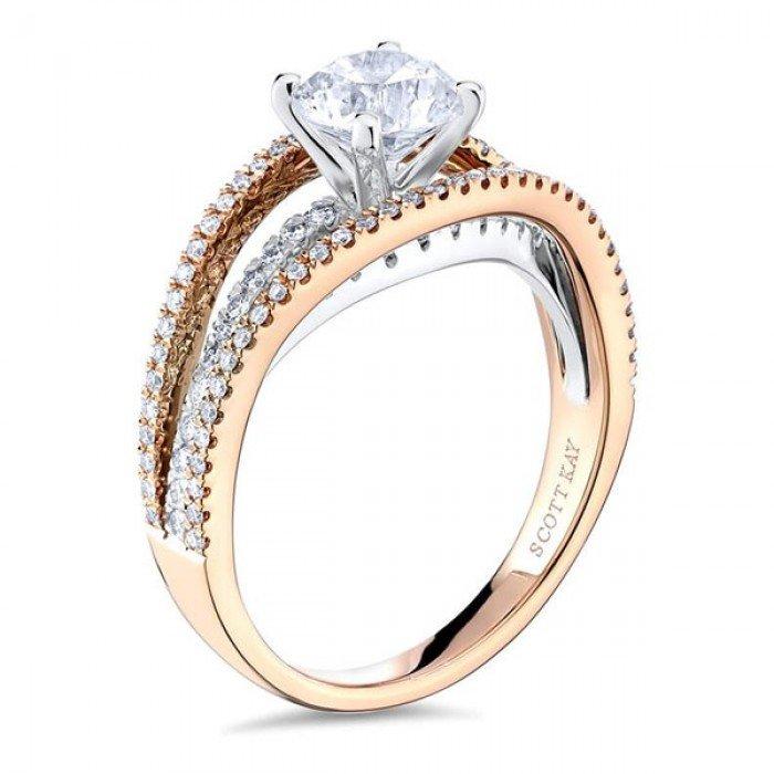 65e73bdabb1da6 SCOTT KAY Split Shank Rose Gold Diamond Engagement Ring. Designer ...