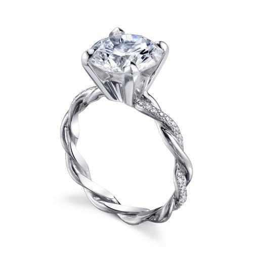 Michael B Twist Platinum Diamond Engagement Ring. Designer ...
