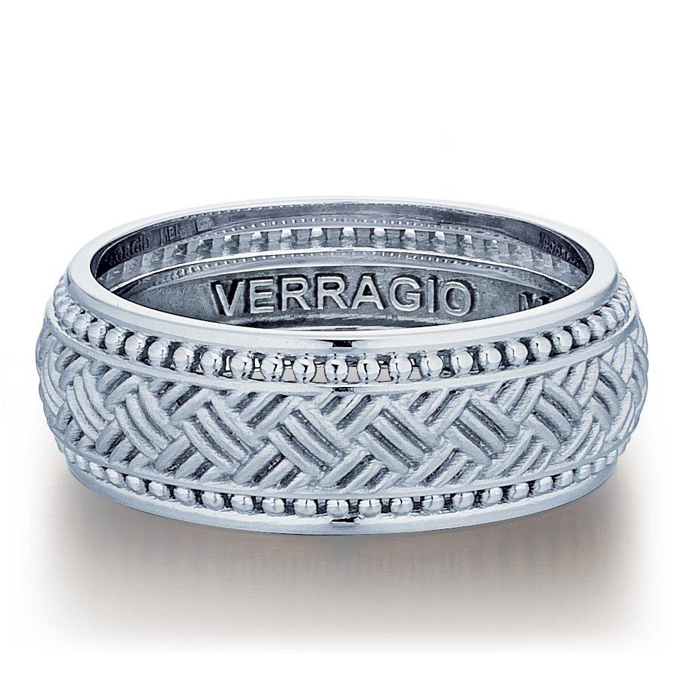 Verragio Plain White Gold Mens Wedding Bands Designer Engagement