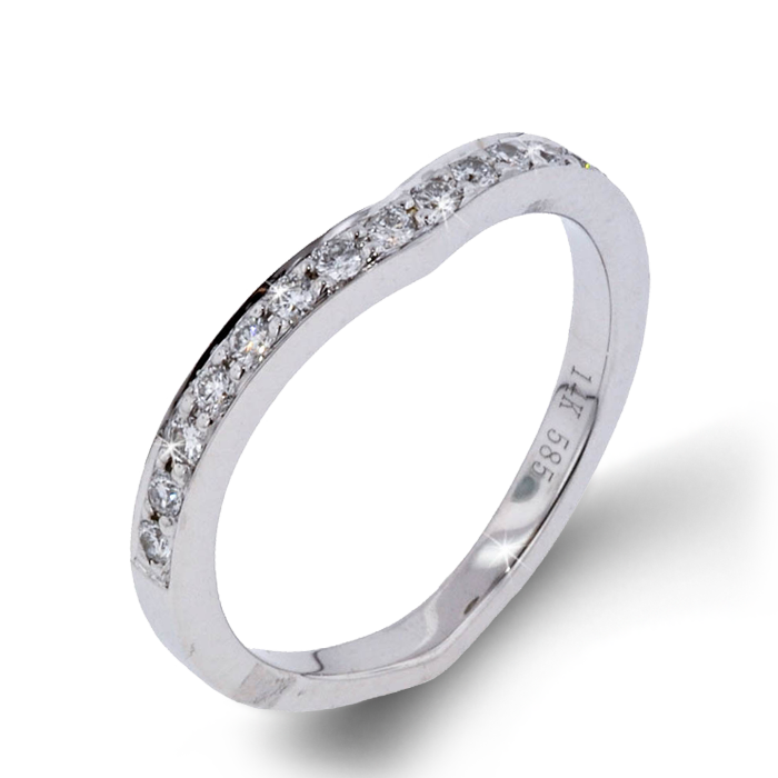 Arthurs Collection Diamond Curved White Gold Womens Wedding bands ... 921f1c9b65