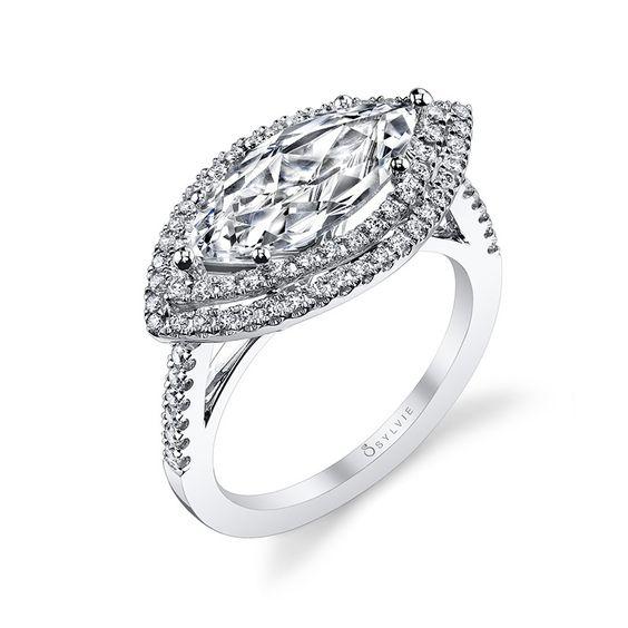 Marquise Diamond Ring Designs | Sylvie Collection Halo White Gold Diamond Engagement Ring Designer