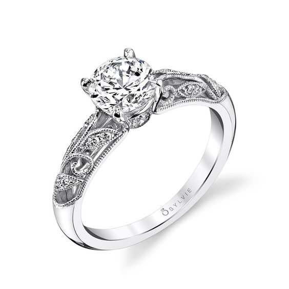 Sylvie Collection Vintage White Gold Diamond Engagement Ring