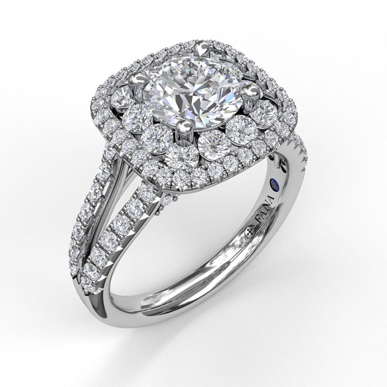 Fana Double Halo White Gold Diamond Engagement Ring Designer Engagement Rings Fine Jewelry Arthur S Jewelers