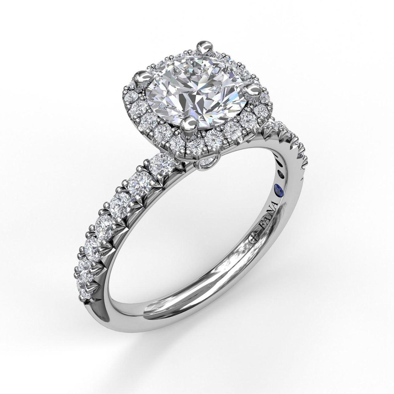 Fana Halo White Gold Diamond Engagement Ring Designer Engagement Rings Fine Jewelry Arthur S Jewelers
