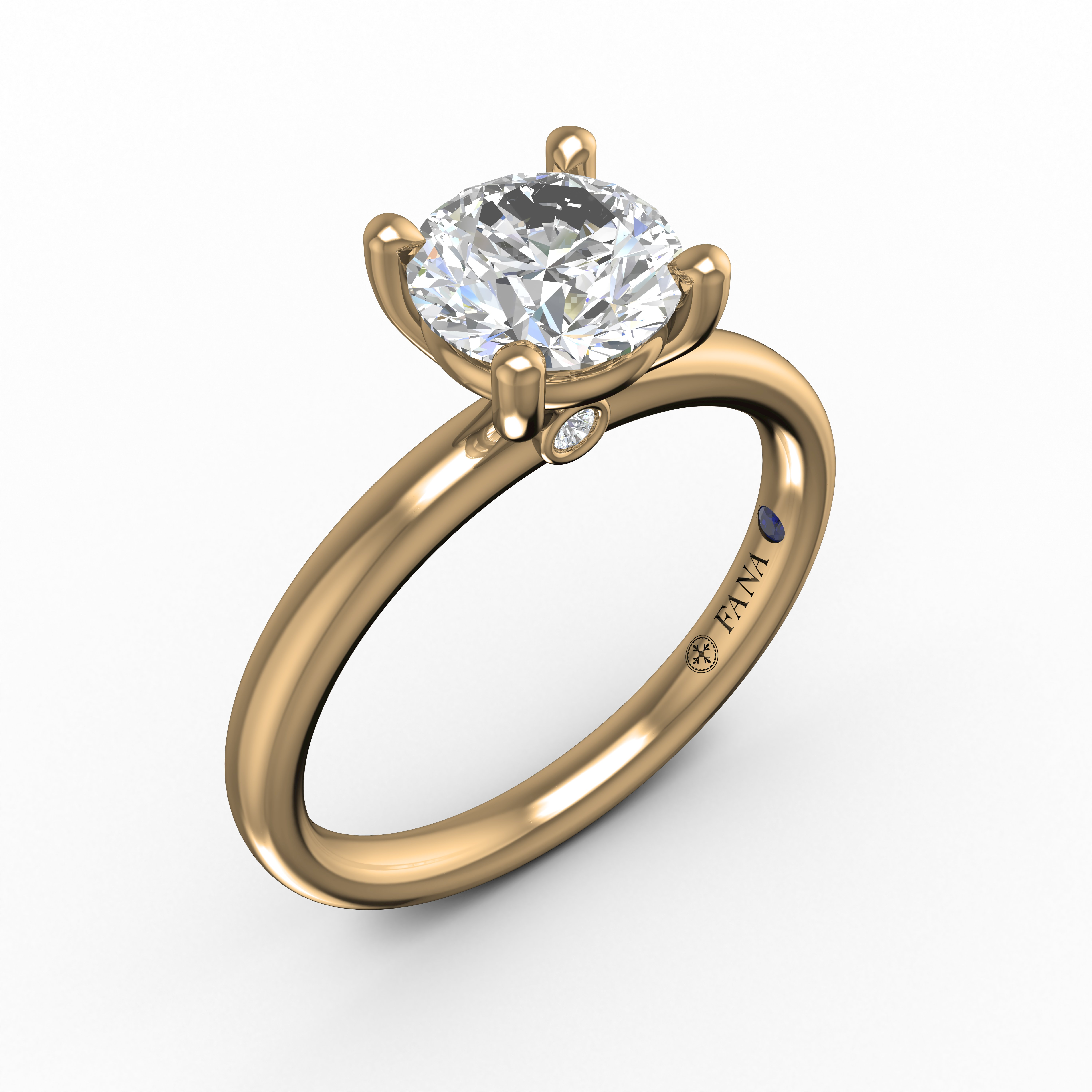 Fana S3842 Yg Simple Round Diamond Engagement Ring