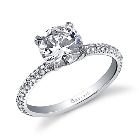 Sylvie Collection Side Stone White Gold Diamond Engagement Ring