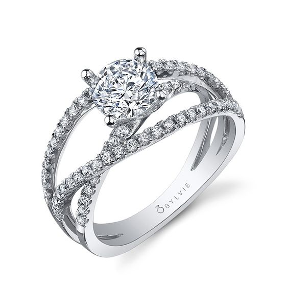 Sylvie Collection Twist White Gold Diamond Engagement Ring Designer