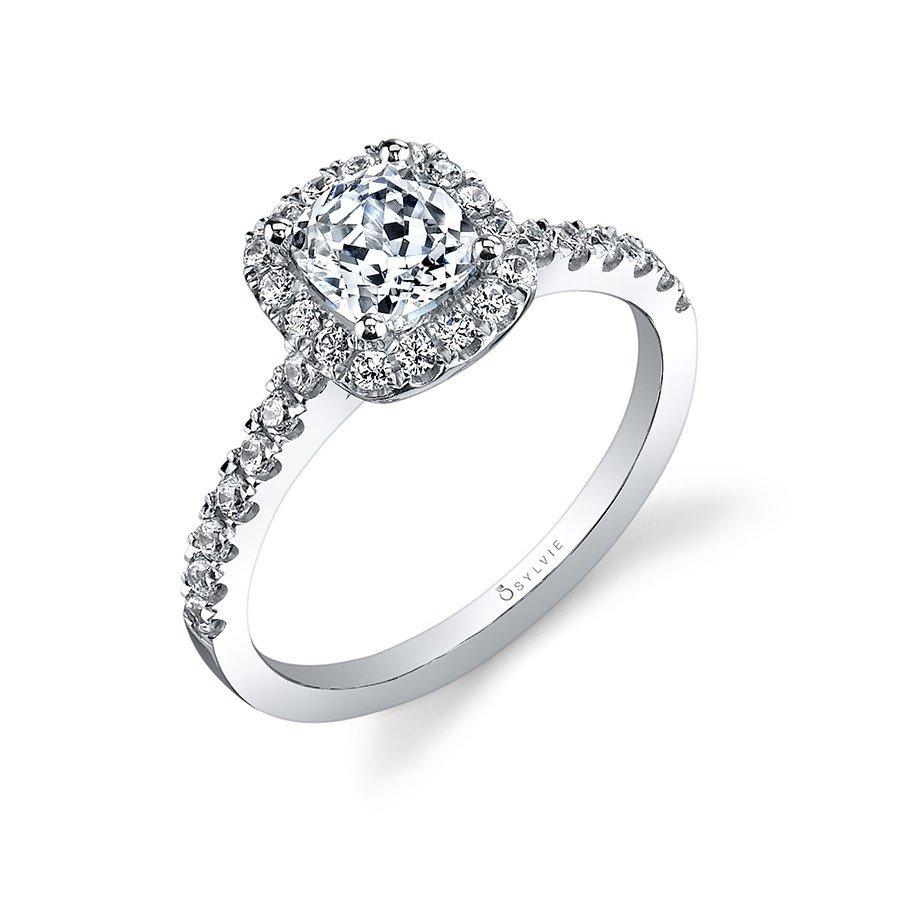 Sylvie Collection Halo White Gold Diamond Engagement Ring. Designer ... a67639c76