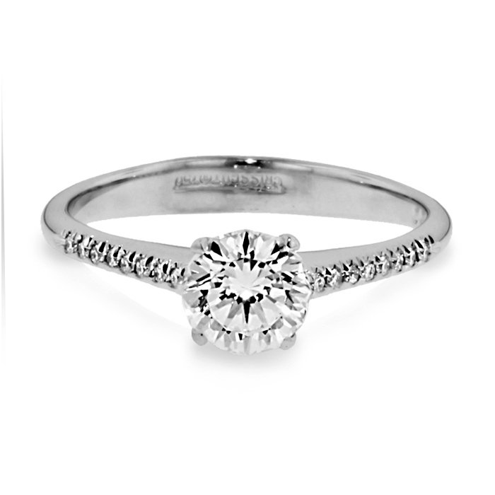 4a91f22f5 Christopher Designs Side Stone 18K - White Gold Diamond Engagement ...