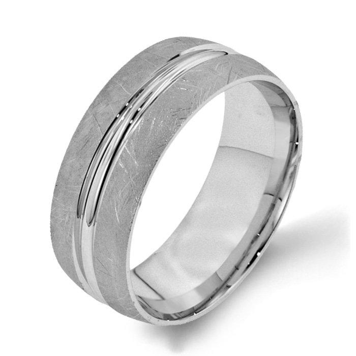 Arthurs Collection Plain White Gold Mens Wedding bands Designer