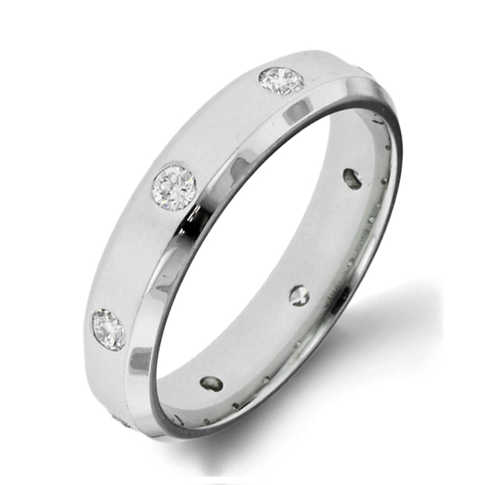 Diana Classic Diamond Platinum Mens Wedding Bands Designer